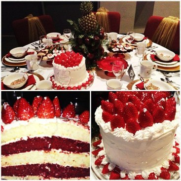 This December, I decided to host a table at our church's elegant Christmas event.  This entailed providing deserts, dishes, and fancy decor for 8 beautiful ladies.  This cake was a last minute idea that turned into something gorgeous.